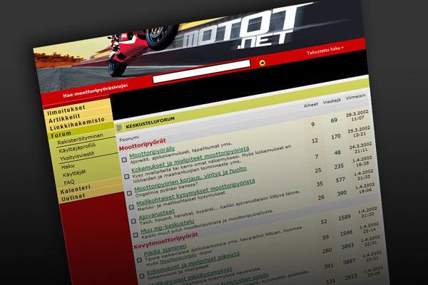 Tältä Motot.net näytti keväällä 2002